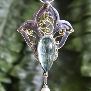 Aquamarine and freshwater pearl pendant, Sterling silver and 18k Gold