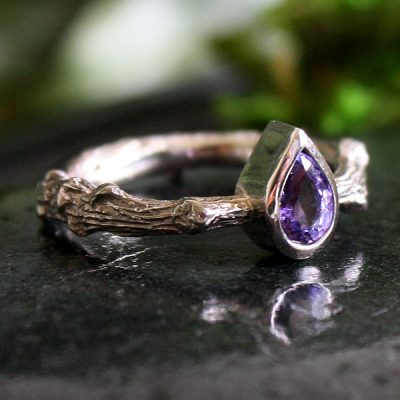 Sapphire White Gold Oak Branch Ring