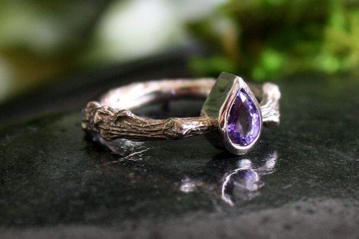 Sapphire White Gold Oak Branch Ring