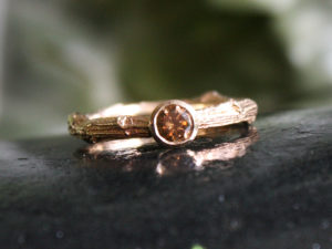 Champagne Diamond Twig Ring