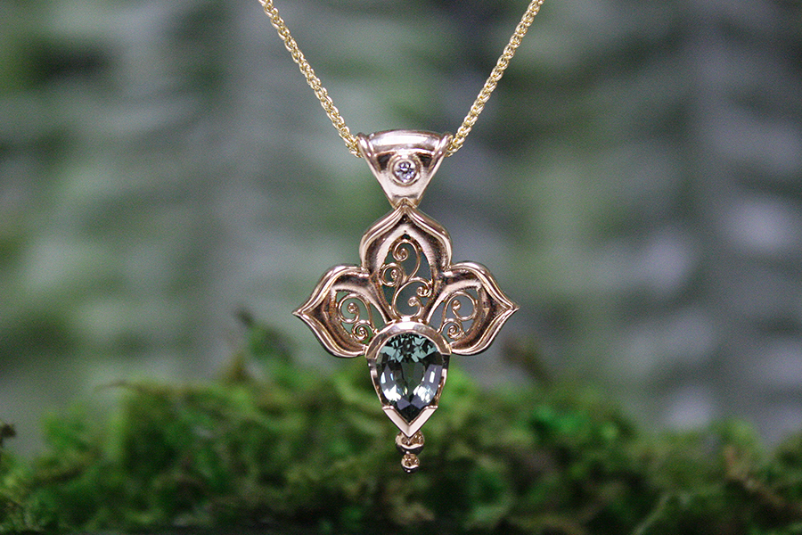 Green sapphire and diamond filigree pendant in 18k gold gossamer green sapphire and diamond filigree pendant in 18k gold gossamer wings aloadofball Image collections