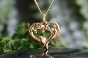 L'Amour Hand Carved 14k Gold Heart