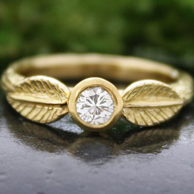 18k Gold and Diamond Laurel Leaf Ring