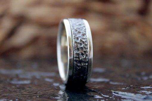 Lunar Landscape, men's white gold band