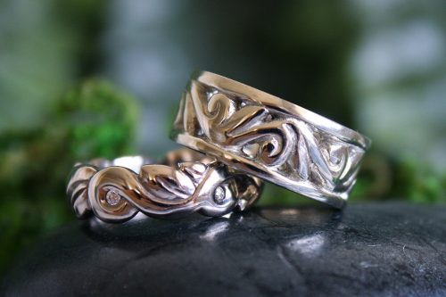 Embrace Ring and Fantasia Ring Wedding Set in 14k White Gold
