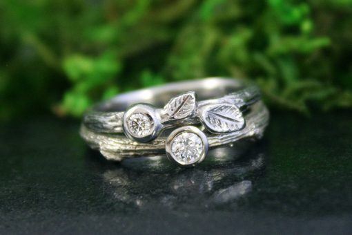 Enchanted Oak Branch Wedding and Engagement Ring
