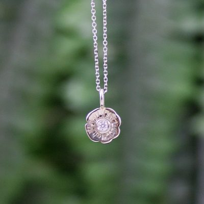 Diamond Flower Blossom Pendant