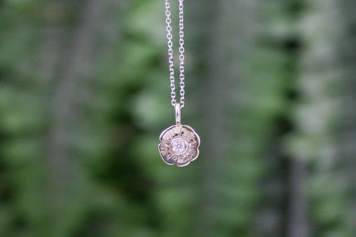 Diamond Flower Blossom Pendant