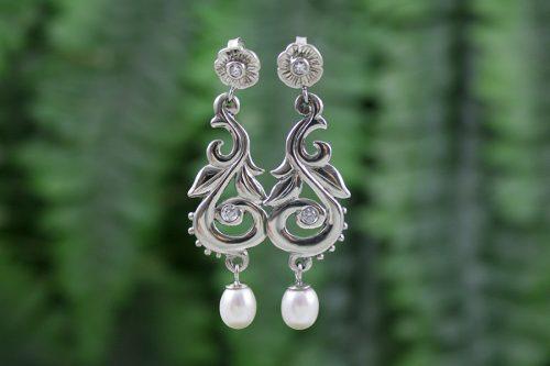 Diamond and Pearl Drop Harvest Earrings