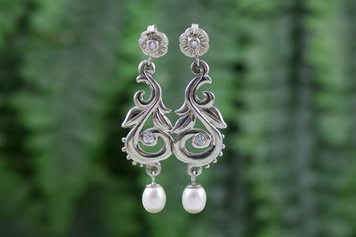 Diamond and Pearl Drop Harvest Earrings