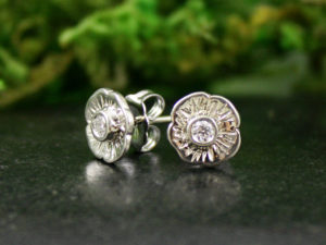 Diamond Flower Blossom Stud Earrings