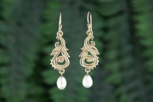 Pearl drop Yellow Gold Harvest Earrings