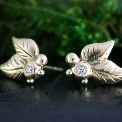 Diamond Leaf Earrings in 14k Gold