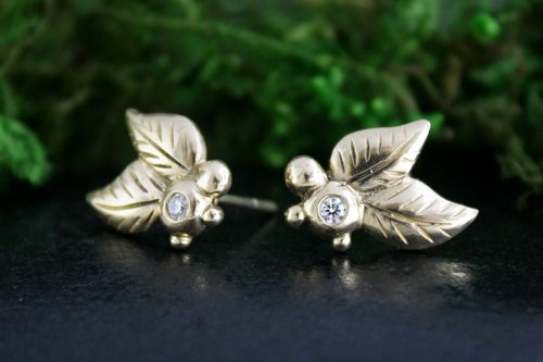 Diamond Leaf Earrings in 14k Gold