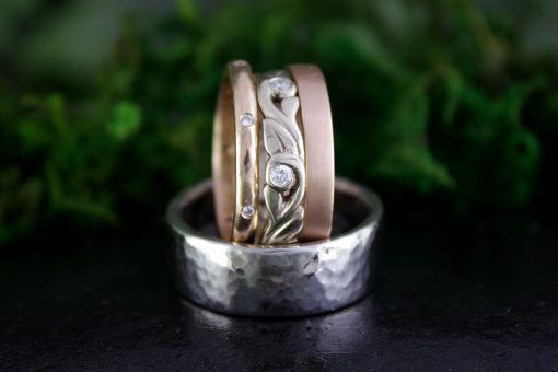 Wedding Ring Set in White and Rose Gold