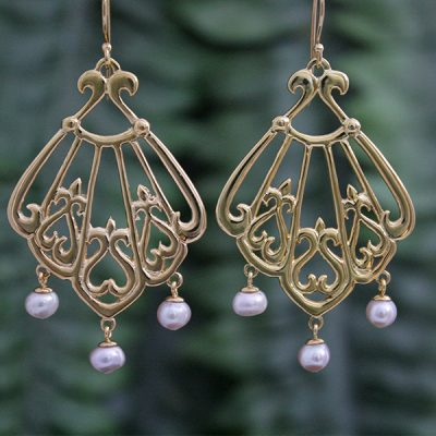 Asherah, Goddess of the Sea Rose Gold Chandelier Earrings