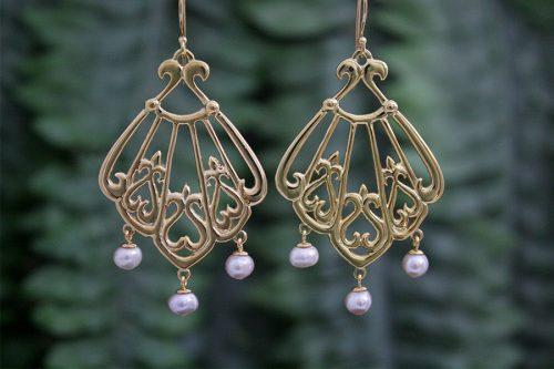 Asherah, Goddess of the Sea Rose Gold Chandelier Earrings