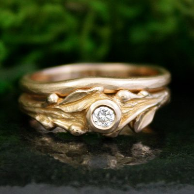 Sprig Wedding Ring Set in 14k Rose Gold