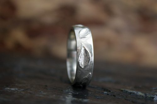 Men's Leafy Ring in 14k White Gold