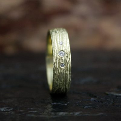 Men's Bark Ring with Diamonds