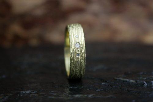 Men's Bark Ring with Diamonds
