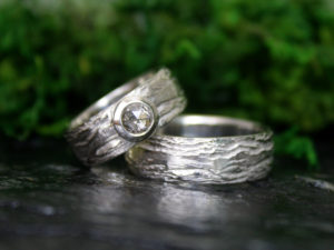Birch Bark Matching Wedding Bands in 14k White Gold and Champagne Diamond