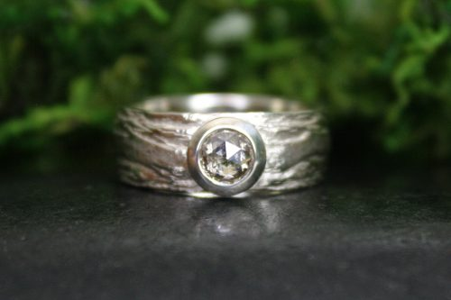 Hand Carved Birch Bark Texture Wedding Band in 14K White Gold and Rose Cut Champagne Diamond