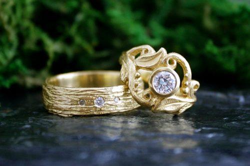 Woodland Wedding Ring Set in 18k Gold