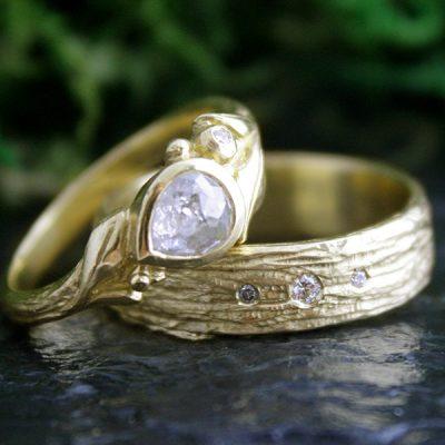 Rowan Diamond Ring and the Cedar Bark Ring in 18k Gold
