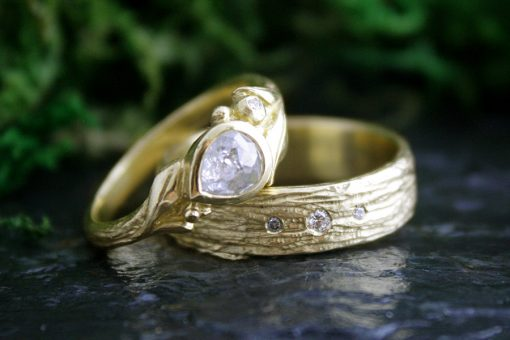 Rowan Diamond Ring and the Cedar Bark Ring in 18k Gold