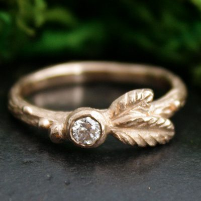 Budding Leaf Diamond Stacking Ring