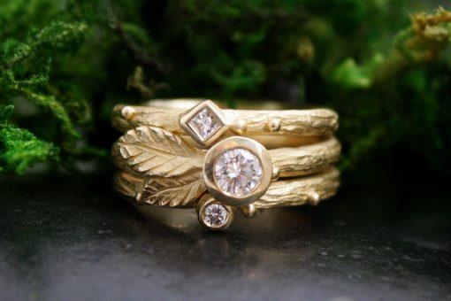 Diamond Trinity Love Stack in 14k Gold