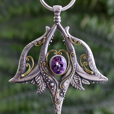 Gilded Lily Amethyst Statement Pendant