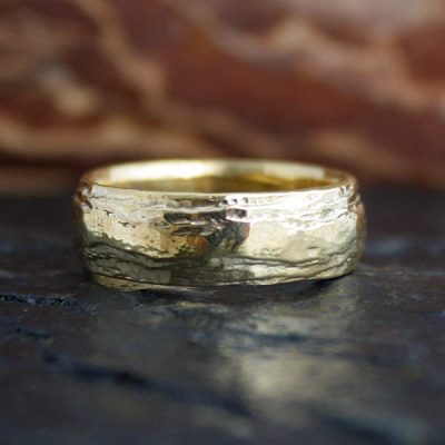 Birch Bark Ring in 14k
