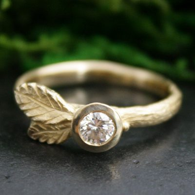 Salal Leaf Diamond Stacking Ring