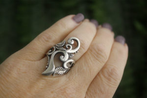 Artemis, Goddess of the Forest Statement Ring in Sterling Silver