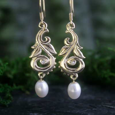 Harvest Pearl Drop Earrings in 14k Gold with Diamonds