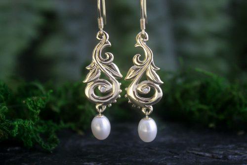 Harvest Pearl Drop Earrings in 14k Gold with Diamonds