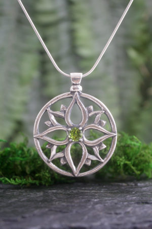 Gothic Mandala Peridot Pendant in Sterling Silver