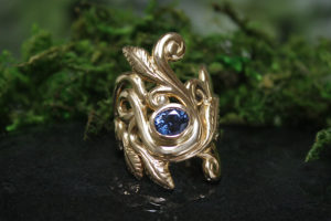 Serendipity Ring with Blue Spinel in 14k Gold
