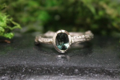 Blue Green Sapphire Twig Ring in 14k White Gold