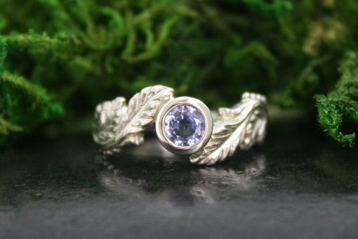 Alder Leaf Blue Sapphire and 14k White Gold Engagement Ring