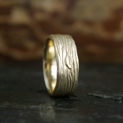 Men's Hand Carved Woodland Wedding Band