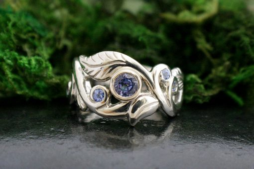 Blue Sapphire Wanderlust Art Nouveau Style Ring in 14k White Gold