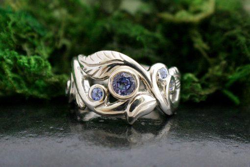 Blue Sapphire Wanderlust Art Nouveau Style Ring in 14k White Gold