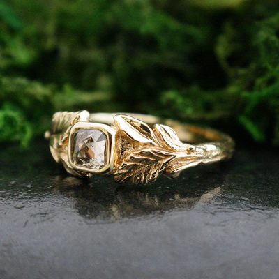 Aspen Leaf Ring in 14k Gold and Rose Cut Champagne Diamond