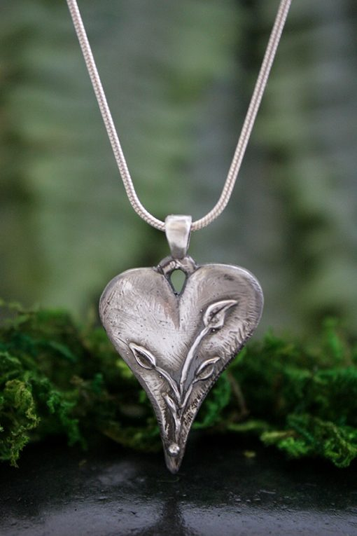 Hearts and Flowers Pendant in Sterling Silver