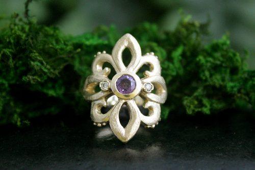 Purple Sapphire Fleur De Lis Ring with Diamonds in 14k Gold