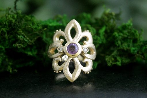 Purple Sapphire Fleur De Lis Ring with Diamonds in 14k Gold