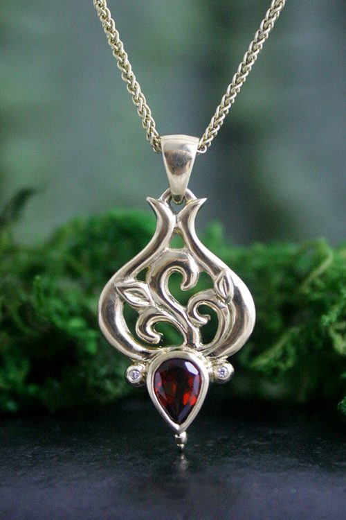 Gypsy Rose 18k Gold and Garnet Pendant With Diamond Accents